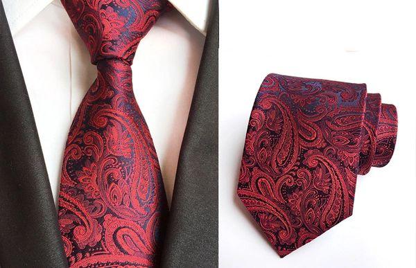 5323005 Men Paisley Red Blue Neck tie