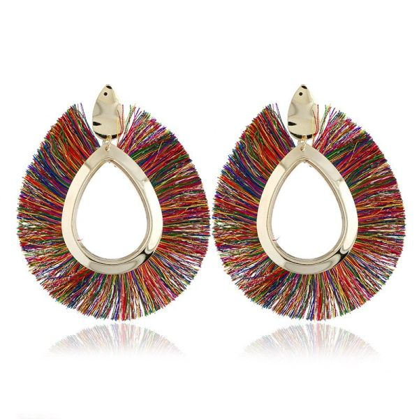 532222 Multi Color Fringe Earrings (Pierced)