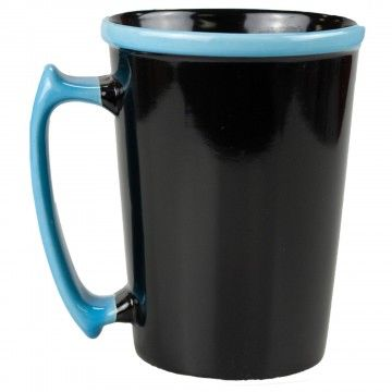 0679 Black Ceramic Mug with Aqua Rim with Handle