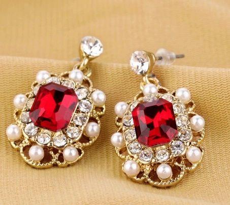 Ruby Rhinestone Pearl Earrings