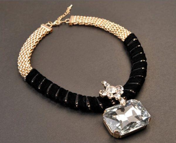Velvet Crystal Pendant Necklace