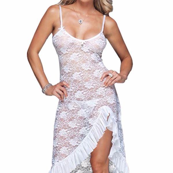 DLL1014 Lace High Ruffle Cut Dress Gown