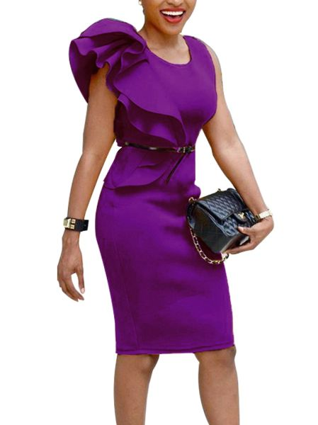 54176 Ruffle Shoulder Dress