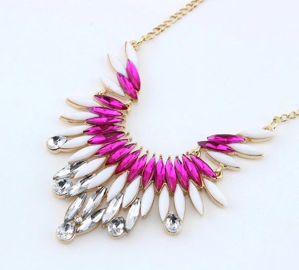 Prism Ivory Hot Pink Rhinestone Choker Style Necklace