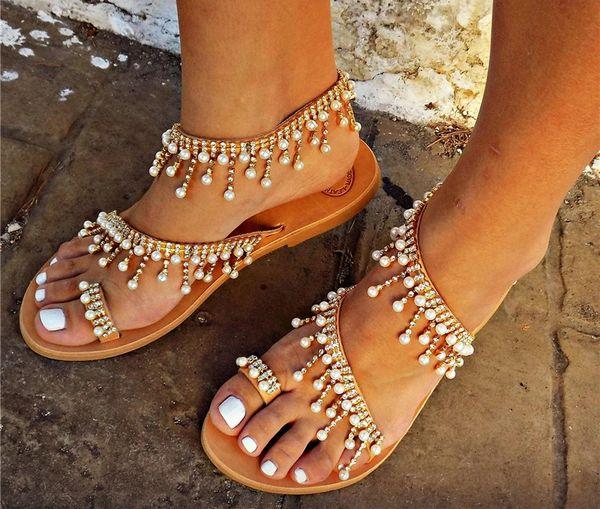 909600 Pearl Rhinestone Tassel Flat Sandals Size 7 - 10