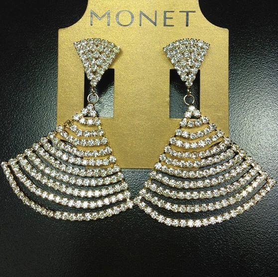 Rhineston Fan Earrings