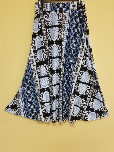 002 Maxi Blue/Black Print Skirt