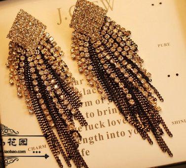 Rhinestone Black Tassel Earrings