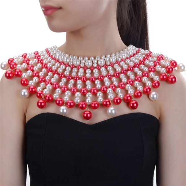 5321637 Red White Beaded Choker Necklace