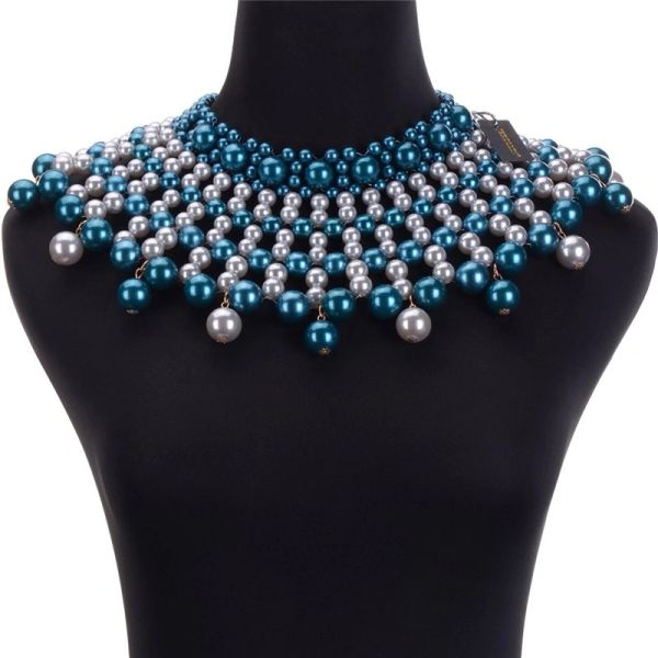 Dl5321637 Blue & White Pearl Statement Collar Necklace