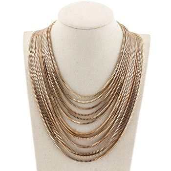 DL74501 14 Tier Draped Gold Chain Necklace