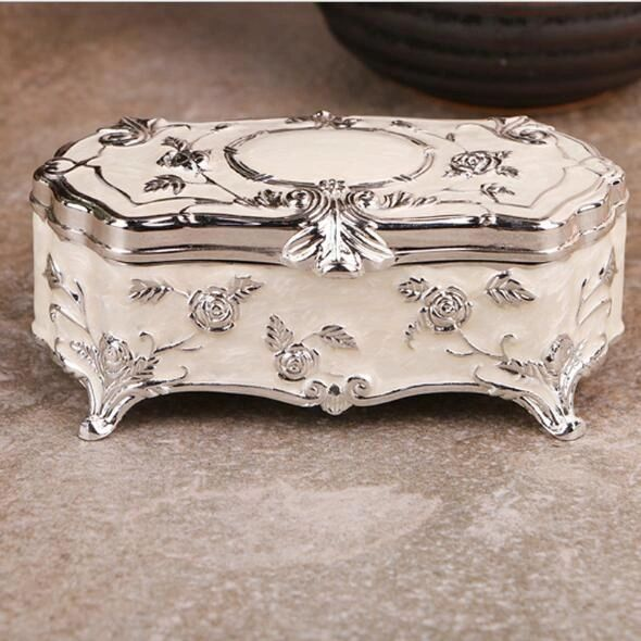 5321109 Enamel Porcelain Silver Rose Trim Jewelry Box