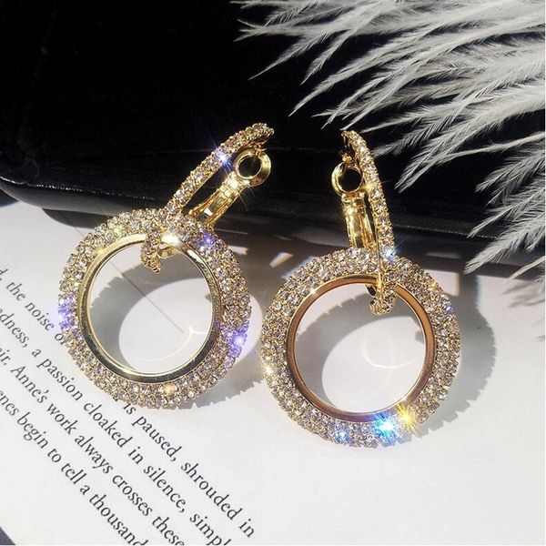 Rhinestone Circle Ring Earrings