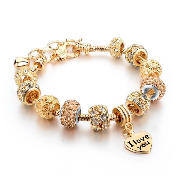 Rose Gold Charm Rhinestone Bracelet