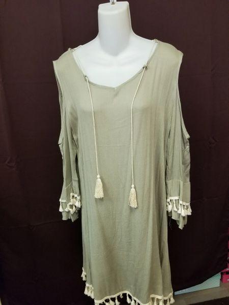 Cold shoulder Tassel Dress
