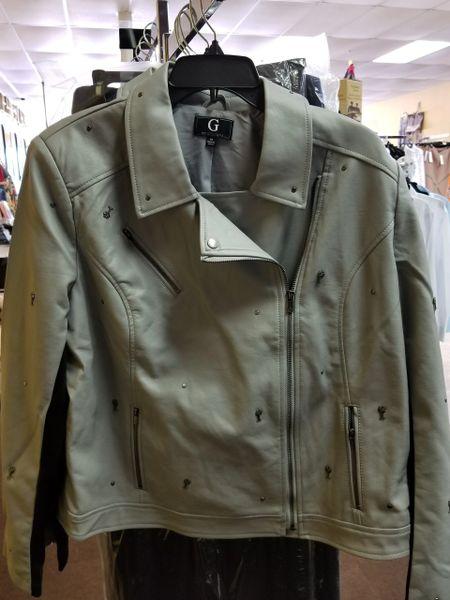 Guiliana Studded Faux Leather Jacket