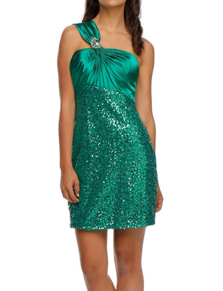 0719 Shoulder Strap Sequin Dress