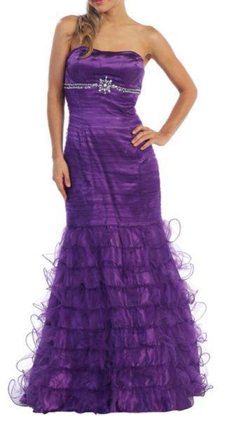 Strapless Rhinestone Evening Gown