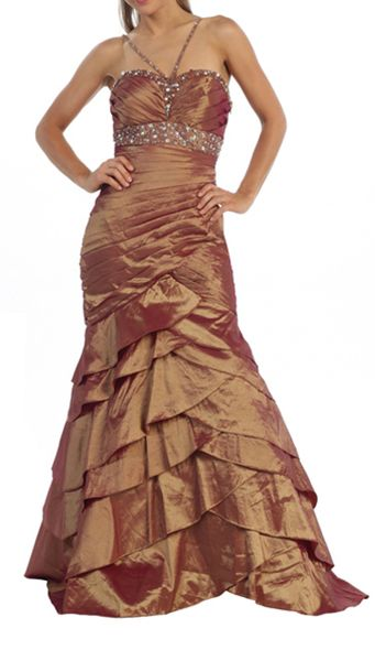 OH LA LA Rhinestone Trim Evening Gown