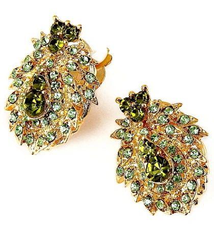 Green Rhinestone Clip-on Earrings