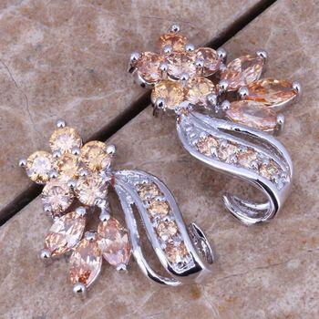 DL452925 Genuine Champagne Morganite Silver Earrings