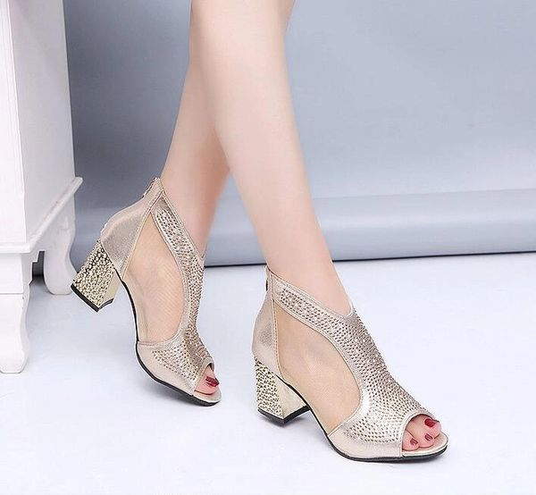 Sparkling Rhinestone Low-Heel Pump Shoes