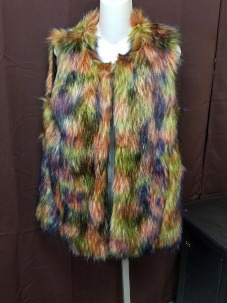 Multi-colored Fur Vest Coat