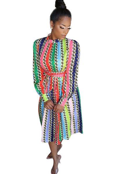 Multi Color Retro Design Dress