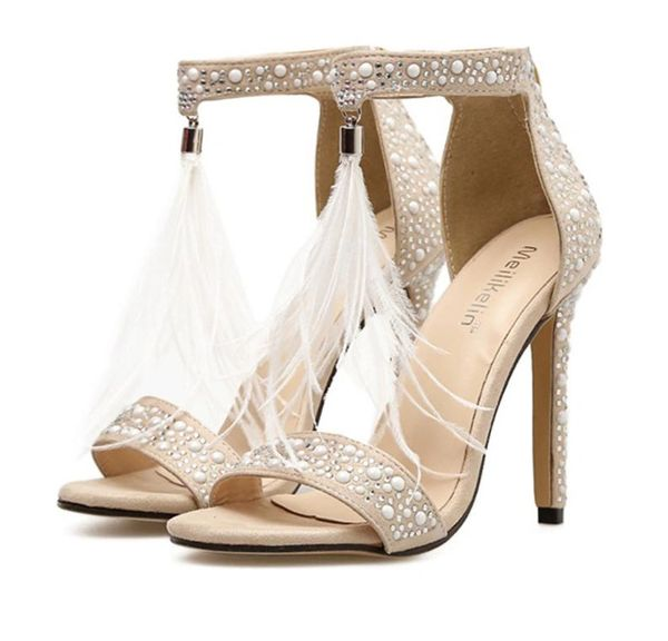 Wedding Shoes in Rhinestone Pearls with Feather Tassel