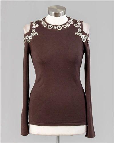 Embellished Cold Shoulder Sweater Top