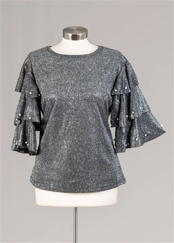 Sequin Glitter Pearl Tiered Blouse