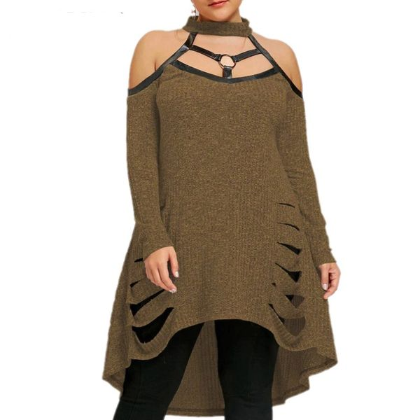 Plus Size Diva Ribbed Cut-Out Sweater Top