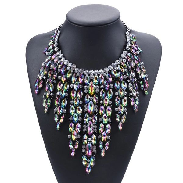Iridescent Jeweled Waterfall Necklace
