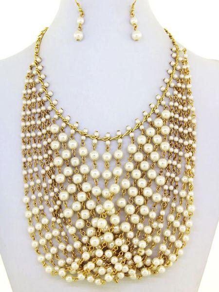 DL276073 Draped Beaded Necklace Set