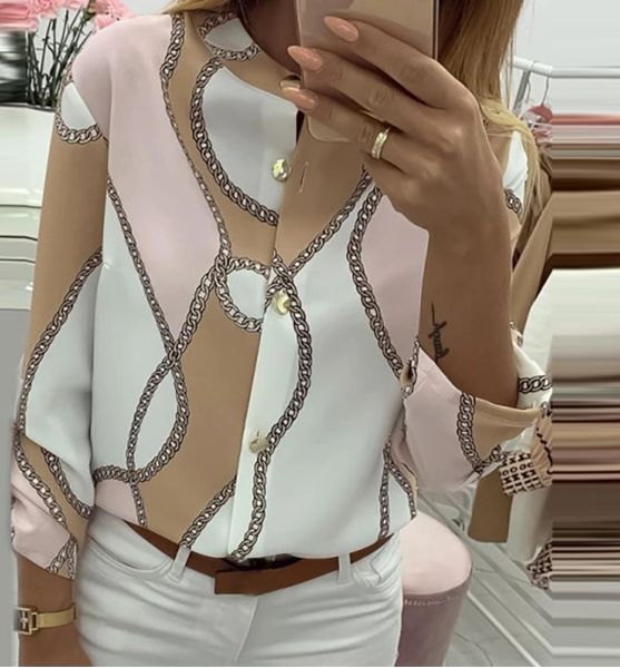 Pink, Beige, White Design Front-Button Blouse