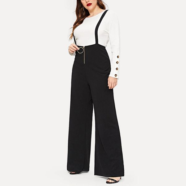 Romper Wide Leg Pant with Front Zipper