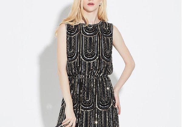 Sequin Tuck Waist Cap Sleeve Dress
