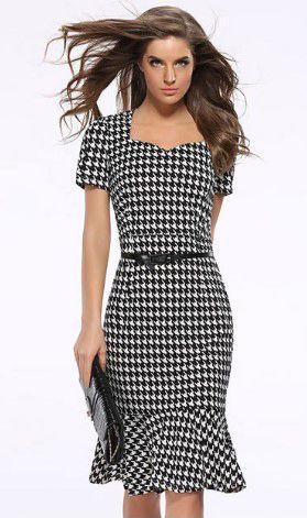 Checker Design Belted Dress