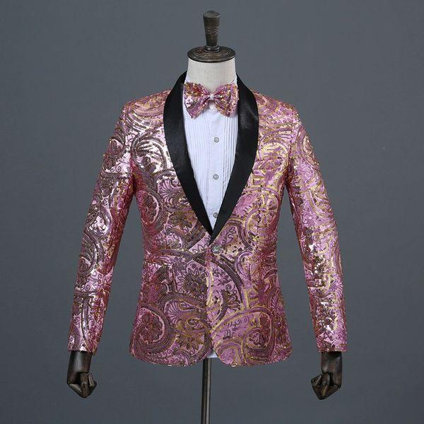 Men Sequin Jacket Blazer with Matching Bow Tie