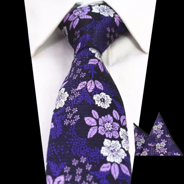 Purple & Lavender Floral Men Neck Tie Set