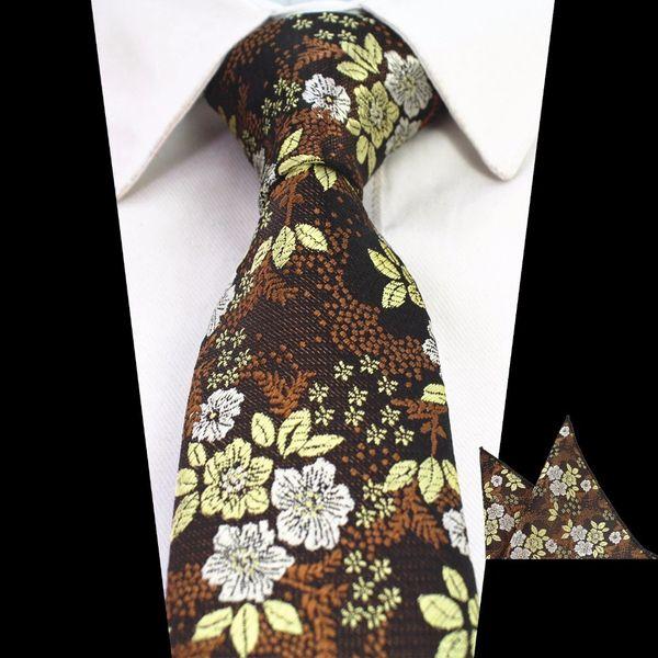 Brown Gold Floral Pattern Men Neck Tie Set