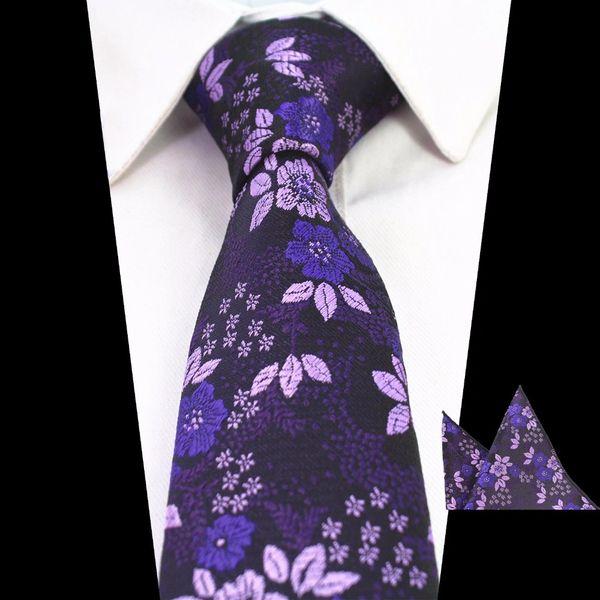 Floral Deep Purple Men Neck Tie Set