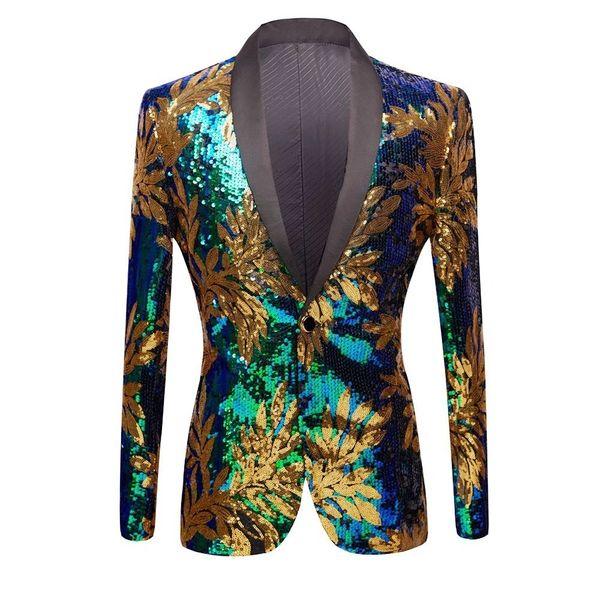 Men Sequin Blazer Jacket Gold Green