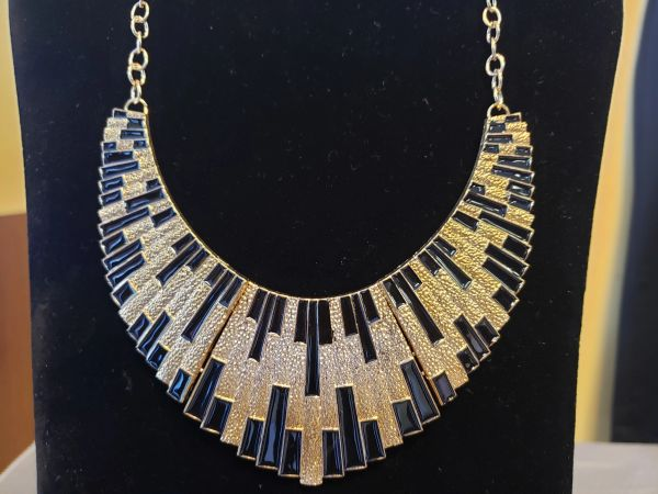 Gold and Black Elegant Keyboard Style Necklace