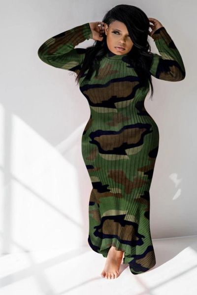 Ribbed Design Camouflage Long Plus Size Dress