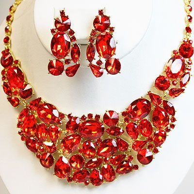 341107 Red Crystal Rhinestone Necklace Set