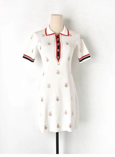 Designer Woven Bee Knit Dress