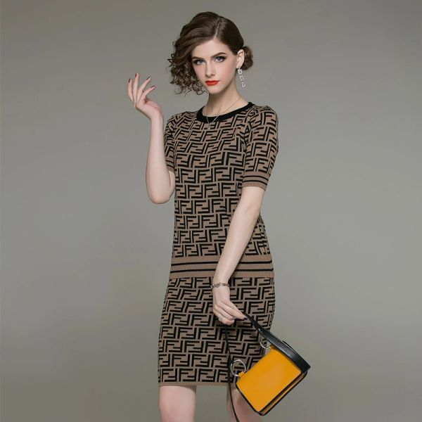 Designer Knit Letter Design Two-Piece Skirt Set