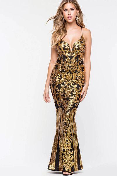 Gold Black Gatsby Long Gown Dress