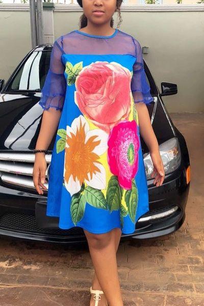 Floral Pattern Chiffon Sleeve Dress